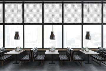 Luxury panoramic restaurant interior leather sofas