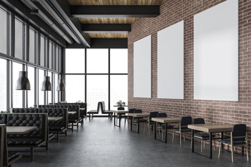 Luxury brick restaurant interior, poster gallery