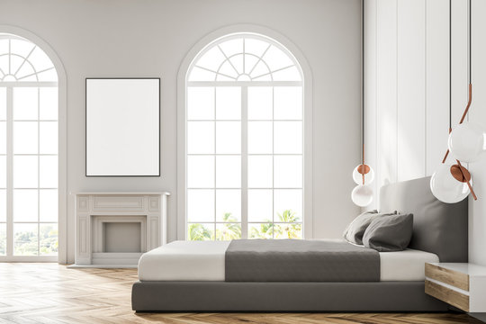 White arched window bedroom, poster