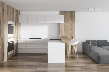 White kitchen in studio apartment, living room
