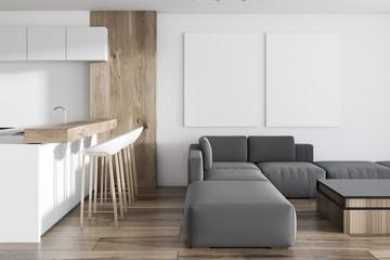 White kitchen in studio apartment, poster gallery