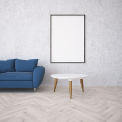 White living room, poster and sofa