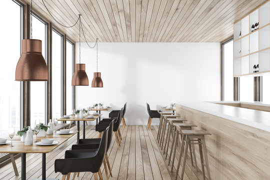 Wooden ceiling restaurant interior