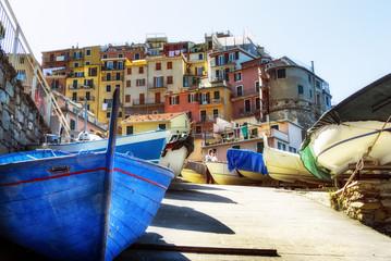 Barche di pescatori colorate e il paese di Manarola sullo sfondo con le sue case arroccate e colorate