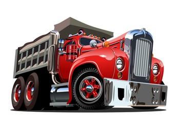Vector Cartoon Retro Dump Truck
