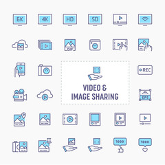 Video & Image Sharing Icon Set