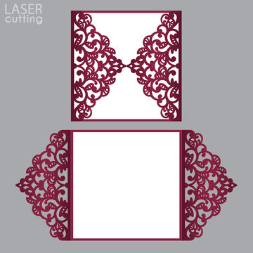 Laser cut wedding invitation card 5x7 template vector. Die cut paper card with lace pattern. Cutout paper gate fold card for laser cutting or die cutting template.