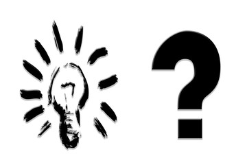 Unknown Idea. A bright bulb of Idea and having a question mark.
