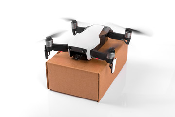delivery drone with box isolated on white background