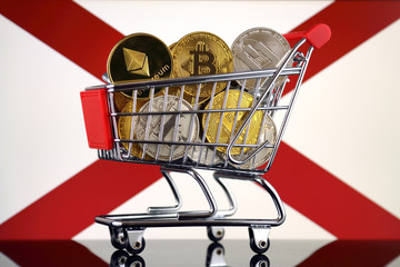 Shopping Trolley full of physical version of Cryptocurrencies (Bitcoin, Litecoin, Dash, Ethereum) and Alabama State Flag.