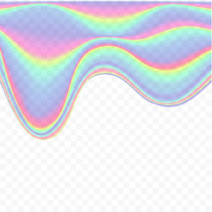 Holographic glitch flowing down - vector illustration on transparent background