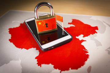 Padlock, China flag on a smartphone and China map, symbolizing the Great Firewall of China concept or GFW and all extreme Internet censorship in China