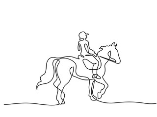 Continuous one line drawing. Horse and rider on horseback logo. Black and white vector illustration. Concept for logo, card, banner, poster, flyer Wall mural