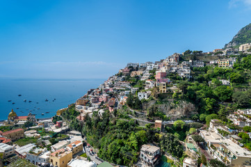 Panoramic view of the town of Positano at  Amalfi Coast, Italy.