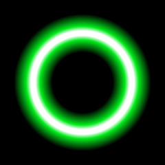 green neon circle set isolated on black background