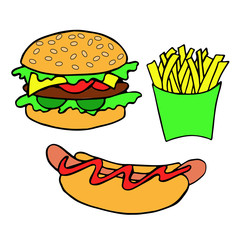 Hand drawn Burger, hot dog, fries on white background.