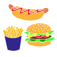 Hand drawn fast food products for decorating banners, flyers, posters.