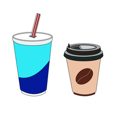 Vector illustration of a coffee Cup and glass with soda isolated on white background.