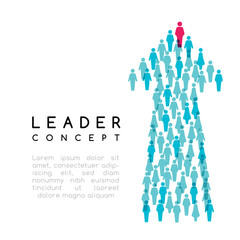 Leadership concept. Vector illustration with arrow sign with people silhouettes texture.