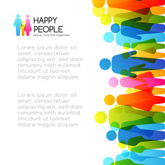 Social conceptual illustration. Vector background with vertical border from colorful people icons.