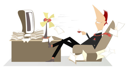 Office, man, table fan and a cup of coffee or tea illustration. Man in the office sits in the armchair in front of the tabletop fan and drinks a cup of coffee or tea