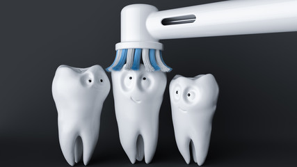 Tooth human cartoon. A tooth enjoys being cleaned. - 3d rendering
