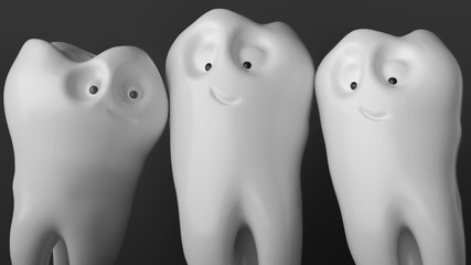Tooth human cartoon. Family tooth at the photo shoot - 3D Rendering