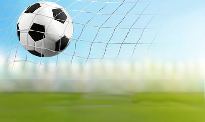 soccer ball in soccer net 3D illustration soccer goal