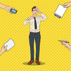 Pop Art Nervous Businessman. Stressed Multitasking Office Worker. Vector illustration