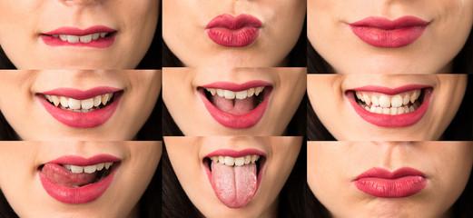 Set of Macro Close up lips of young woman