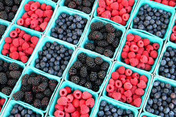 Mixed Berries at Farmers' Market in California (Blackberry, Raspberry, Blueberry)