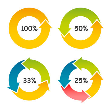 Set of circle percentage diagrams for web design. Circle diagrams isolated marketing illustration – vector