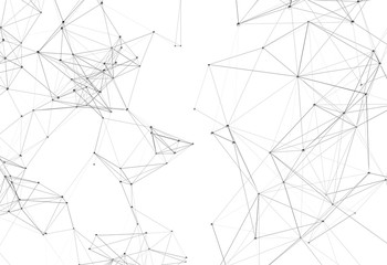 Abstract futuristic background with polygonal plexus shapes consisting dots and lines. 3D illustration
