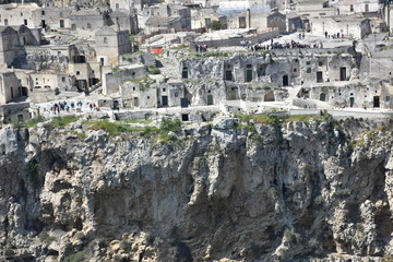 Italy, Basilicata, Matera, city of stones, Unesco heritage, capital of European culture 2019.  Panorama from the Belvedere.