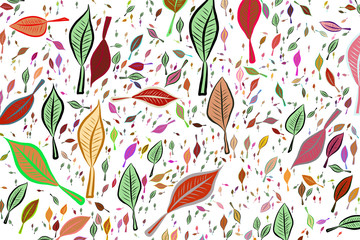 Color abstract leaves drawing pattern generative art background. Illustration, repeat, backdrop & concept.
