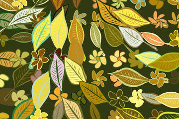 Abstract leaves & flowers illustrations background pattern. Repeat, green, details & sketch.