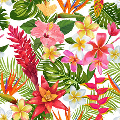 Watercolor Tropical Flowers and Palm Leaves Seamless Pattern. Floral Hand Drawn Background. Exotic Blooming Plumeria Flowers Design for Fabric, Textile, Wallpaper. Vector illustration