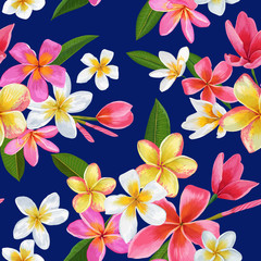 Watercolor Tropical Flowers Seamless Pattern. Floral Hand Drawn Background. Exotic Pink Plumeria Flowers Design for Fabric, Textile, Wallpaper. Vector illustration
