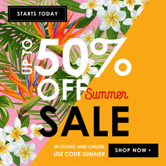 Summer Sale Floral Banner. Seasonal Discount Advertising with White Plumeria Flowers. Tropical Paradise Spring Promotional Design for Poster, Flyer. Vector illustration