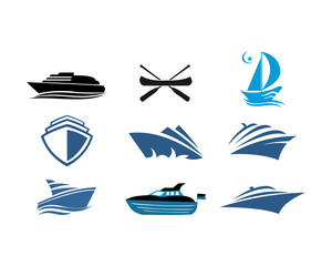 boat ship sea sailing vector logo