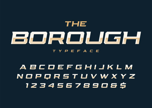 The Borough trendy retro display font design, alphabet, typeface, letters and numbers.