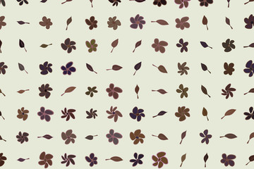Hand drawn leaves & flowers illustrations background, good for graphic design. Nature, wallpaper, shape & line.