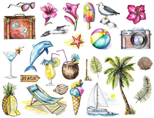 Set with camera, seagulls, yacht, sunglasses, cocktail, ice cream, pineapple, dolphin, signpost, seashells, starfish, flowers, ball, palm, twigs  and suitcase on white background. Watercolor hand draw