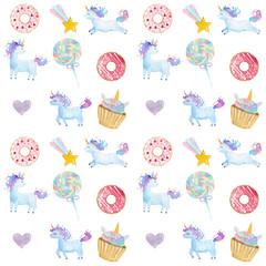 Watercolor Unicorns and cupcake pattern