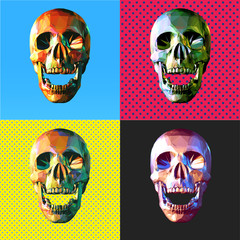 Various colorful skull pop art style illustration