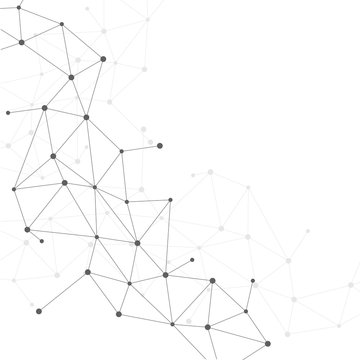 Network Connecting dot polygon background on isolated white background