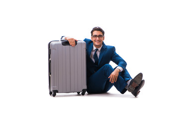 Businessman in business travel concept isolated on white