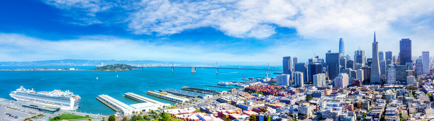 Photo sur Aluminium San Francisco Aerial View of San Francisco Bay Panorama