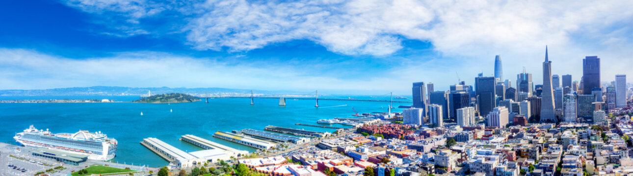 Aerial View of San Francisco Bay Panorama