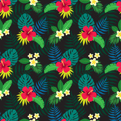 Exotic seamless colorful pattern with tropical jungle leaves and flowers of plumeria and hibiscus on dark background. Floral modern pattern for textile, manufacturing etc. Vector illustration